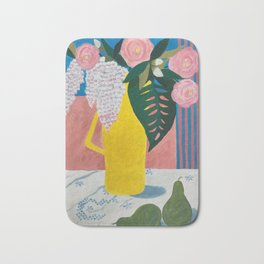 Garden Flowers in Yellow Coffee Pot Bath Mat