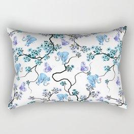 Modern lavender teal floral elephant butterfly pattern Rectangular Pillow