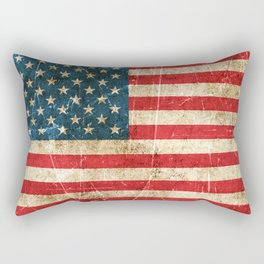 Vintage Aged and Scratched American Flag Rectangular Pillow