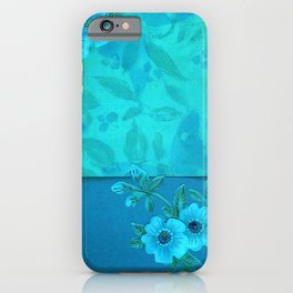 Teal paper flowers iPhone Case