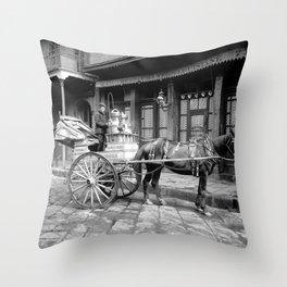 New Orleans milk cart Throw Pillow