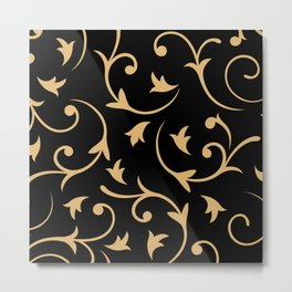 Baroque Design – Gold on Black Metal Print