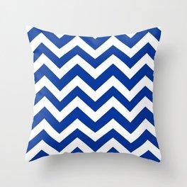 Smalt (Dark powder blue) - blue color - Zigzag Chevron Pattern Throw Pillow