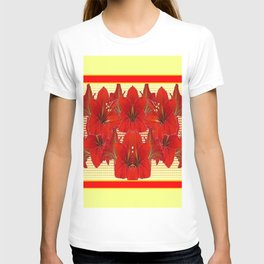 YELLOW CONTEMPORARY CLUSTER RED AMARYLLIS FLOWERS T-shirt