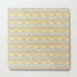 Modern geometrical pink yellow green chevron zigzag pattern Metal Print