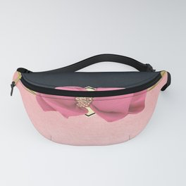 Elegant gold navy blue coral pink bow watercolor  Fanny Pack