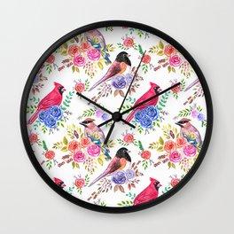 Cardinals Juncos On Roses Wall Clock