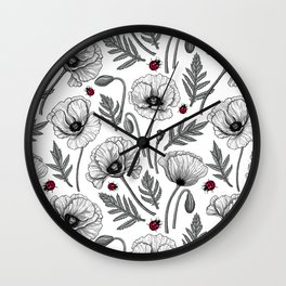 White poppies and ladybugs Wall Clock