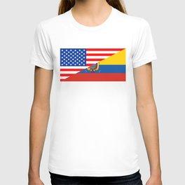 usa ecuador half flag T-shirt