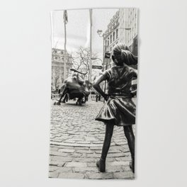 Fearless Girl & Bull - NYC Beach Towel