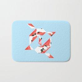 Tangram Koi - Blue background Bath Mat