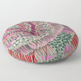 green and pink watercolor radial 3/3 Floor Pillow