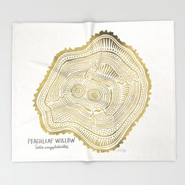 Peachleaf Willow – Gold Tree Rings Throw Blanket