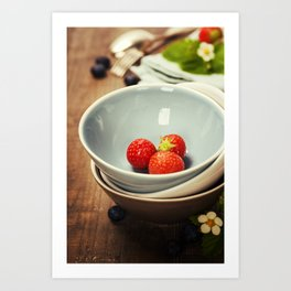 Strawberries in a Bowl on wooden background Art Print