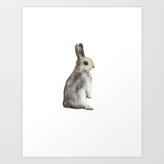 Watercolor rabbit Art Print