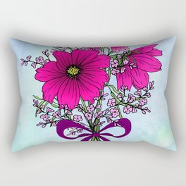 Magenta Cosmos with German Statice Bouquet on Sky Rectangular Pillow