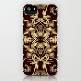 dark red Digital pattern with circles and fractals artfully colored design for house and fashion iPhone Case