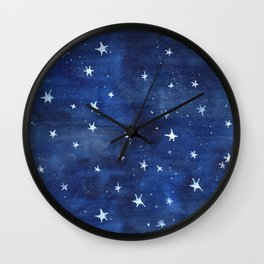 Midnight Stars Night Watercolor Painting by Robayre Wall Clock
