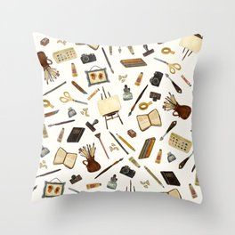 Creative Artist Tools - Watercolor Throw Pillow