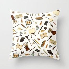 Creative Artist Tools - Watercolor Throw Pillow