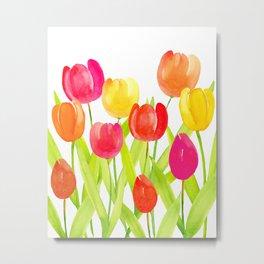 Tulip Garden - Watercolor Flowers Metal Print