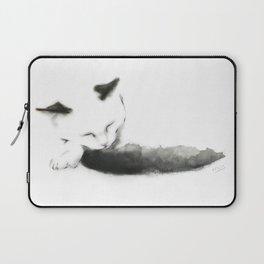 Sleepy Cat with Inky Black  Tail Laptop Sleeve