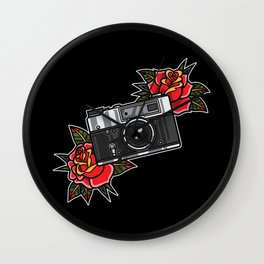 Retro analog camera with flower decoration Wall Clock