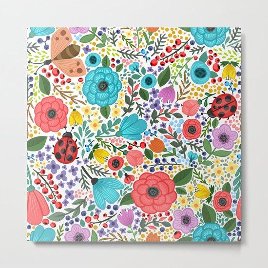 Colorful Vintage Spring Flowers Metal Print