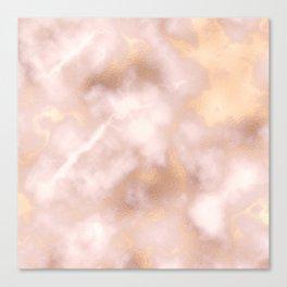 Blush pink faux gold vintage elegant marble Canvas Print
