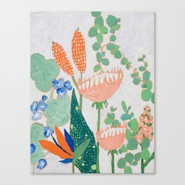 Proteas and Birds of Paradise Painting Canvas Print