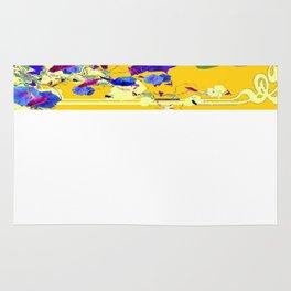 Turmeric-Yellow Color Blue-Purple Morning glories  Art Design Rug