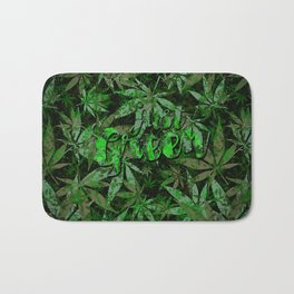 Just green - cannabis plant leaves #society6 Bath Mat