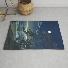 Kawase Hasui, Moonlight Over Ninomiya Beach - Vintage Japanese Woodblock Print Art Rug