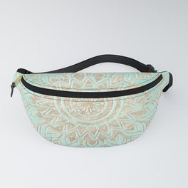 Mint and gold mandala Fanny Pack
