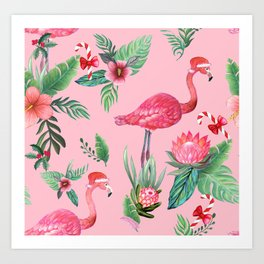 Santa Flamingo Santa Christmas // Holidays Art Print