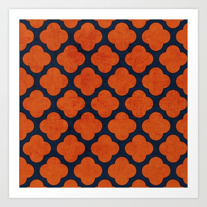 navy and orange clover Art Print