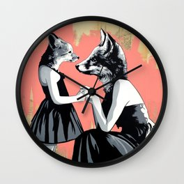 Mother Fox and Girl Wall Clock