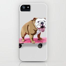 Skateboarding Bulldog iPhone Case