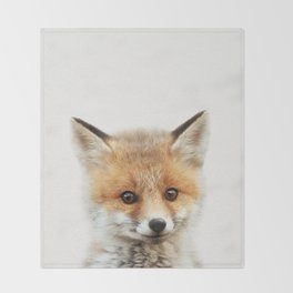 Baby Fox, Baby Animals Art Print By Synplus Throw Blanket