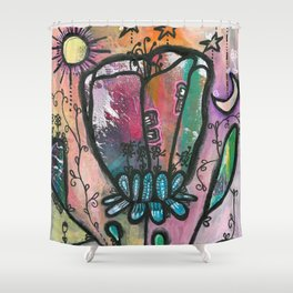 Bloom under sun moon and stars Shower Curtain