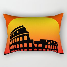 Sunset and colosseum in a red sky Rectangular Pillow