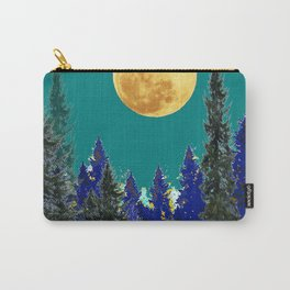BLUE FOREST TEAL SKY MOON LANDSCAPE ART Carry-All Pouch