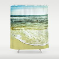 wave Shower Curtains featuring wave by Bonnie Jakobsen-Martin