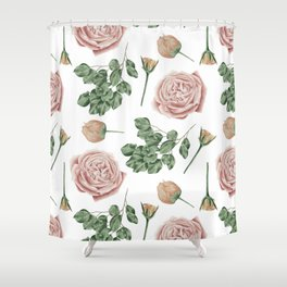 Flower Shop Roses Pattern White Shower Curtain