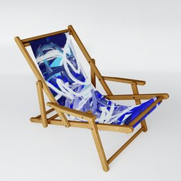 Blue & White Abstract Sling Chair