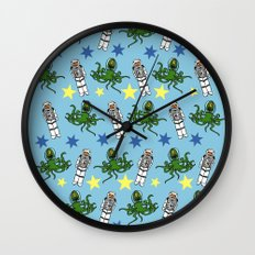 Aliens & Astronauts pattern Wall Clock