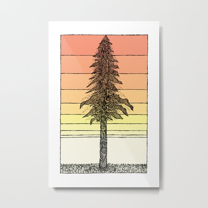 Coastal Redwood Sunset Sketch Metal Print