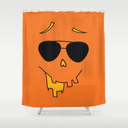 Funny Halloween Face with Sunglasses Shower Curtain