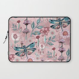 Rose Gold Dragonfly Garden | Pastel Laptop Sleeve