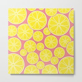 Pink Lemonade Citrus Lemon Slices Metal Print